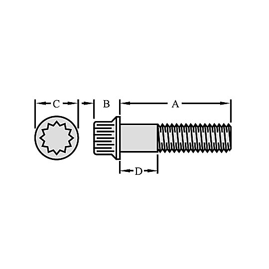8S-0509: 12 Point Head Bolt
