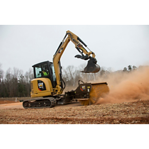 Cat® 304.5E2 XTC Mini Excavator sweeping with a BA118C Angle Broom